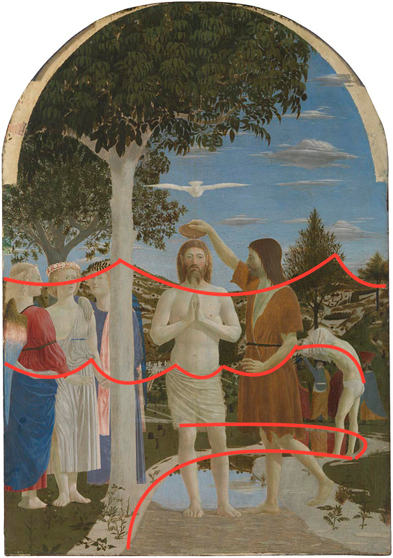 Piero della Francesca, about 1415/20 - 1492 The Baptism of Christ 1450s Egg on poplar, 167 x 116 cm Bought, 1861 NG665 http://www.nationalgallery.org.uk/paintings/NG665